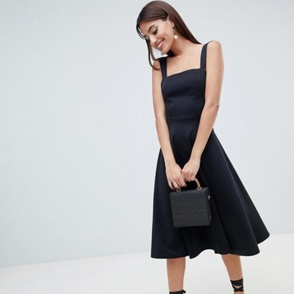 9cf549a14c8f ASOS Dresses | Square Neck Black Midi Prom Dress | Poshmark